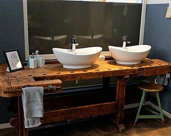 Antique Planing Bench As Washbasin Accessories Restored Hobelbank Waschtisch Waschtisch Holz