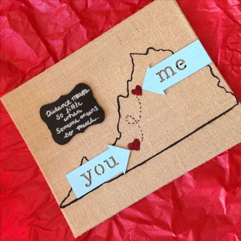 I'm in a long-distance relationship & I made this for my boyfriend for Valentines Day this year. Inexpensive & easy to do! - - #giftforboyfriend