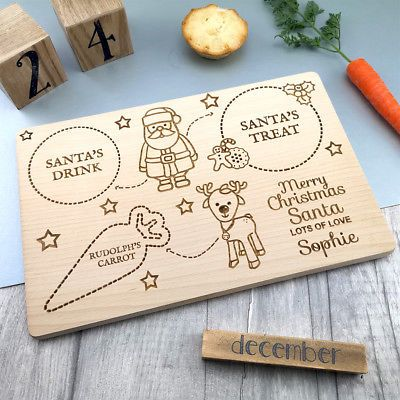 Children/'s Christmas Eve Personalised Santa/'s Snack and drink Wooden Snack Board
