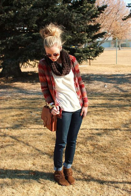 booties + cuffed jeans+ white top+ patterned cardigan+ knit infinity scarf