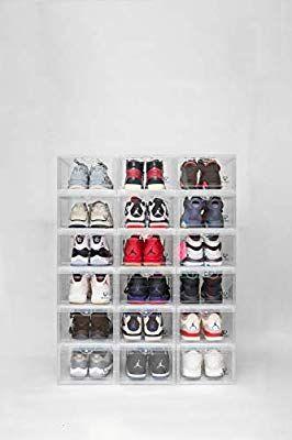 Amazon Com Storage Shoes Box Womens Mens Shoe Storage Box Plastic Foldable Stackable Shoe Container Clear Closet Shoe Containers Sneaker Displays Shoe Storage
