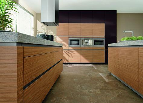 Küche modern Holz grifflos Granit-Arbeitsplatte - bei - arbeitsplatte küche nussbaum