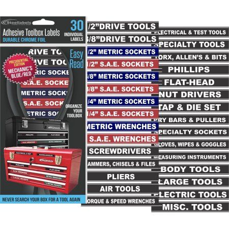 Steellabels Tool Box Organizer Labels Tough Foil Adhesive Decals For All Toolboxes Craftsman Snap On C Tool Box Tool Box Organization Organizing Labels