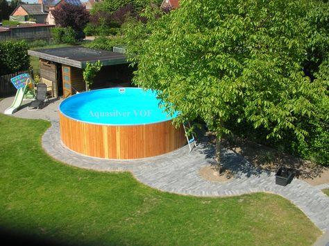 Ronde staalwand / houten zwembaden