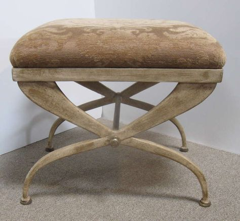 Pair Of Curule Upholstered Stools Image 2 Upholstered Stool