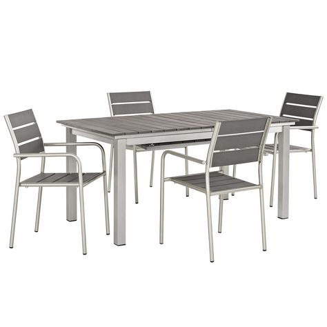 Shore 5 Piece Outdoor Patio Aluminum Outdoor Dining Set Outdoor
