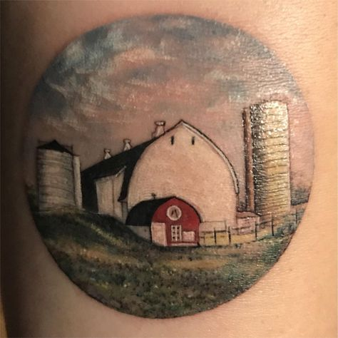 My (fresh) family farm on my left forearm as tattooed by Eva ( at BangBang in New York City. The detail still astounds me.