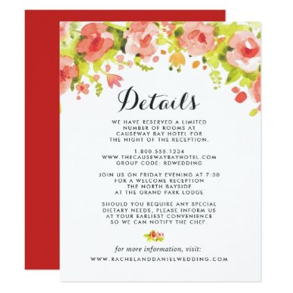 Floral Rose Watercolor Guest Information Card Wedding