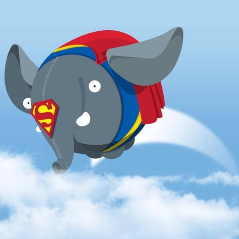 Olli first birthday, dressed up as Superman. Olli is a stuffed animal elephant merchandise for Blijdorp Zoo Rotterdam connected with soccerclub Feyenoord and paid for by an insurance company