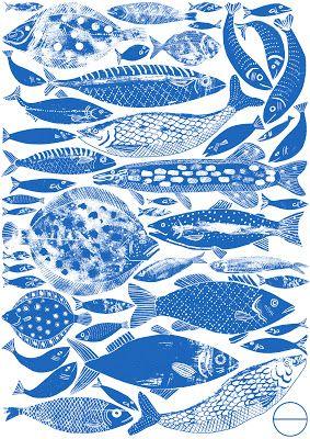 Alice Pattullo: Fishes blue and white illustration