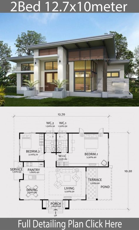 House Plans 7x12m With 4 Bedrooms Plot 8x15 Sam House Plans Architectural House Plans Modern House Plans Modern Bungalow House