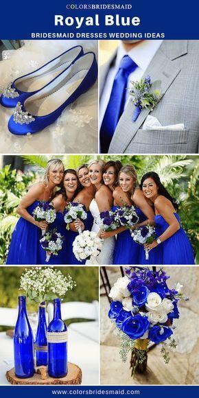 Summer Wedding Royal Blue Bridesmaid Dresses And Light Gray Grooms Suit With A Boutonniere Of Thistle A An Ramo De Novia Azul Boda Azul Boda De Verano