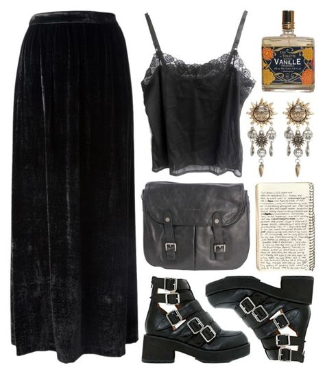 A fashion look from March 2014 featuring floor length skirt, lingerie camisole and lined boots. Browse and shop related looks. Alternative Outfits, Alternative Mode, Alternative Fashion, Goth Outfit, Witchy Outfit, Komplette Outfits, Grunge Outfits, Fashion Outfits, Style Grunge