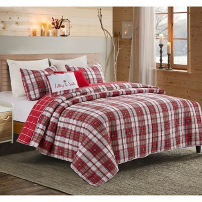 GREENVILLE RED Quilted Throw Patchwork Farmhouse Plaid Check Stripe Reversible