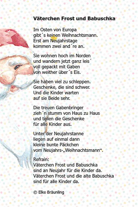 Vaterchen Frost Und Babuschka Winterzeit Spruche Zur Weihnachtszeit Weihnachtsgedichte Gedichte Fur Kinder