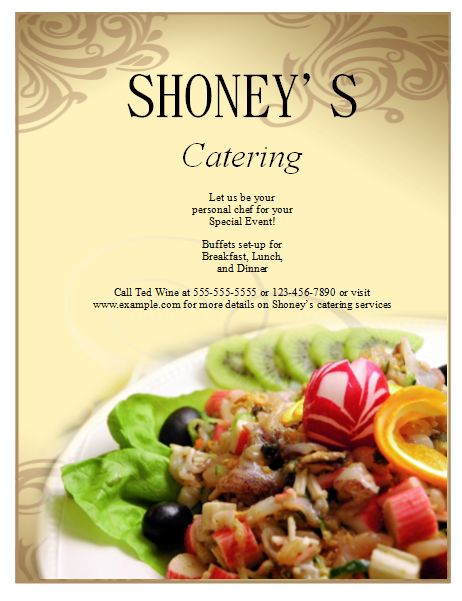 Catering Flyer Template Publisher Flyers Logo