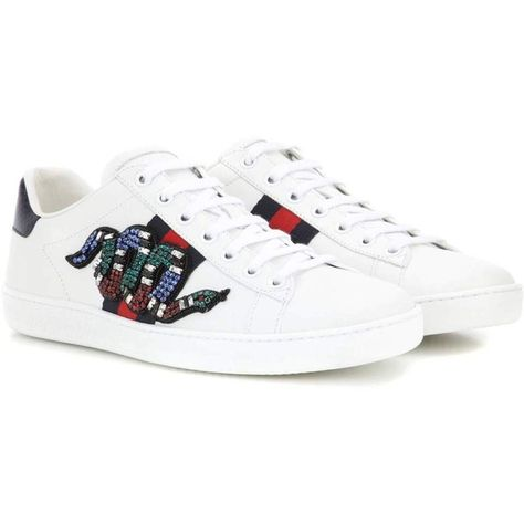 7575d1cf0b5 Gucci Ace Embellished Sneakers ( 950) ❤ liked on Polyvore featuring shoes