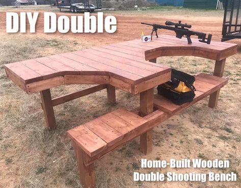 AZ Pilot Builds Great Two-Station Shooting Bench « Daily Bulletin Gun Shooting Range, Outdoor Shooting Range, Outdoor Range, Shooting Guns, Portable Shooting Bench, Shooting Bench Plans, Shooting House, Shooting Table, Outdoor Projects
