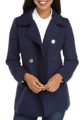 Next Navy Blue Solid Peacoat   Coats for women, Peacoat
