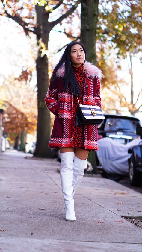 Perfect White Thigh Boots #fashionblogger #whiteboots #thighboots #leatherboots #streetstyle #streetfashion #newyork #newyorkblogger #newyorkinfluencer #newyorker #newyorkcity #fauxfur #plaidcoat #plaidtrend #whiteleather #valentino #valentinobrockstud #valentinogaravani #outfitideas #outfitinspo #outfitinspiration #streetfashion #zara #zaraoutfit