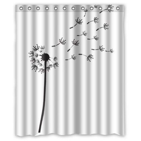 Hellodecor Dandelion Shower Curtain Polyester Fabric Bathroom