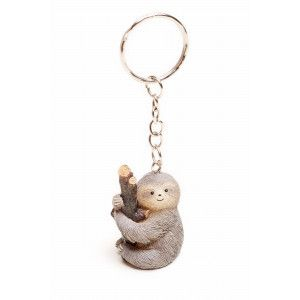 Sloth Just Hanging Around Pink Leather Metal Keychain Key Ring