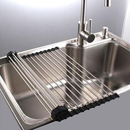 Roll Up Dish Drying Rack In Sink Stainless Steel Kitchen Folding