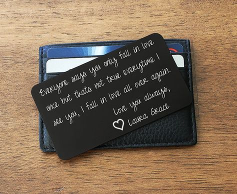 Wallet Insert, Valentines Husband gift, Happy Anniversary, Personalized Wallet Card, Wallet Card Insert, Anniversary Gifts, Gifts for Him. The 3 1/2 by 2 inch wallet card fits perfectly inside a wallet and can be carried daily as a small token of love. Choose from 9 colors to suit
