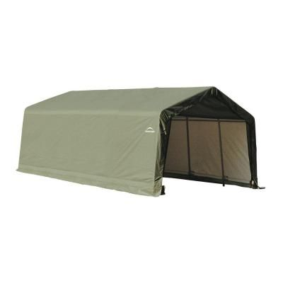 Shelterlogic 12 Ft W X 20 Ft D X 8 Ft H Peak Style Garage Storage Shelter In Green With Corrosion Resistant All Steel Frame 71444 0 The Home Depot In 2020 Storage Shelters Shed