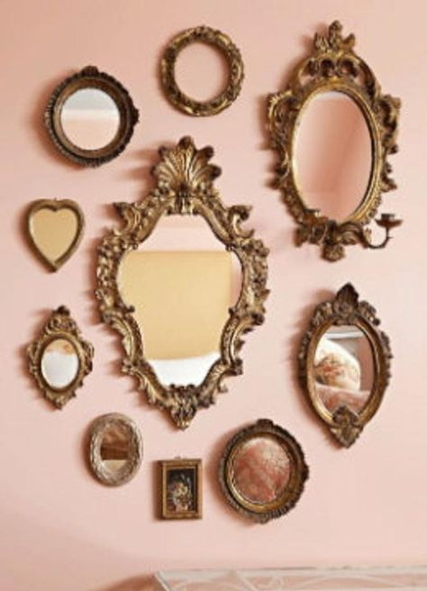 Mirror Gallery Wall, Mirror Collage, Mirror Wall Art, Mirror Mirror, Mirror Walls, Sunburst Mirror, Mirror On The Wall, Heart Mirror, Mirror House