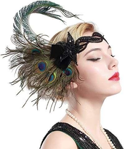 Amazon Com Peacock Bit Flapper Headband Feather Headband