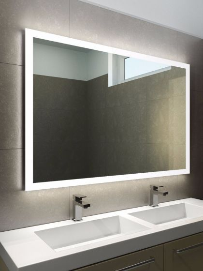 Halo Wide Led Light Bathroom Mirror Modern Bathroom Mirrors Led Mirror Bathroom Bathroom Mirror Lights