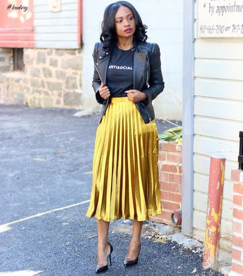 46 The Best Metallic Skirt Outfit For Fall Look Glamour