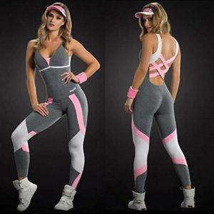 808b95b1dd7 Details about Women Ladies Gym Playsuit Clothes Exercise Sport Top ...