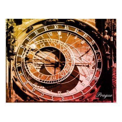 Astronomical Clock Prague Czechia Vintage Postcard Zazzle Com Vintage Postcard Clock Postcard