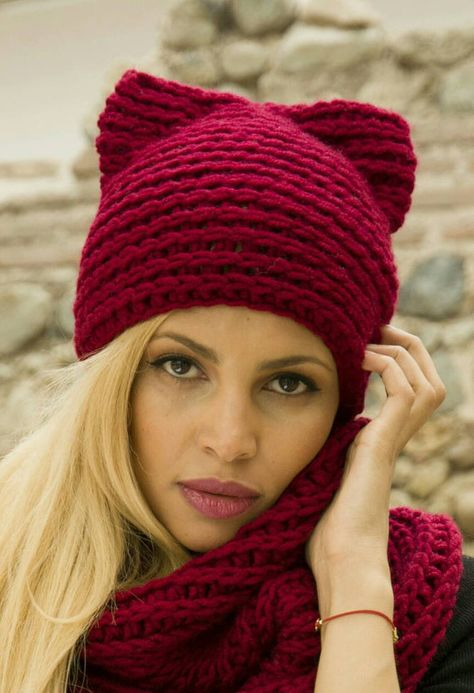 c94c471835bd3 CLEARANCE SALE Chunky Red Pink Warm Winter Crochet Pussyhat Beanie ...