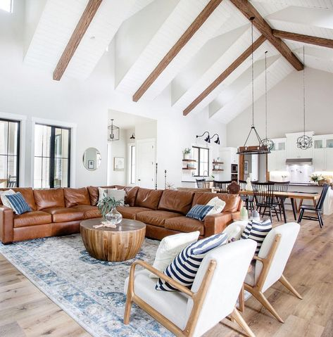 33 Inspiring Open Living Room Designs Ideas - Designing the constituents of a home starts with space planning. A living room not only brings all the family members together, but facilitates a seri. Living Room Grey, Home And Living, Living Room Ideas Leather Couch, Small Living, Modern Living Room Chairs, Living Room Brick Wall, Living Room With Sectional, Rustic Modern Living Room, Leather Couch Decorating