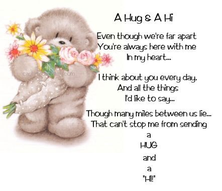 A Hug and a Hi hello friend comment good morning good day thinking of you blessings greeting graphic beautiful day