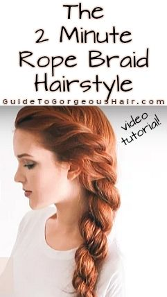 2 Minute Rope Braid Hairstyle is Amazing The 2 minute rope braid hairstyle is a perfect look for all seasons and can be done so quickly!The 2 minute rope braid hairstyle is a perfect look for all seasons and can be done so quickly! Braided Hairstyles Tutorials, Box Braids Hairstyles, Pretty Hairstyles, Rope Braid Tutorials, Hair Braiding Tutorial, Quick Easy Hairstyles, Simple Hairdos, Updo Hairstyle, Wedding Hairstyles