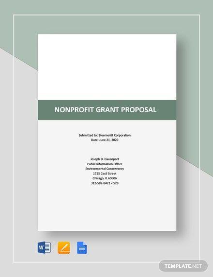 Nonprofit Grant Proposal Template Free Pdf Word Doc Apple Mac Pages Google Docs Nonprofit Grants Grant Proposal Business Plan Template Word