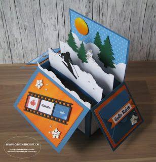 Ski Heliskiing Skiferien Geldgeschenk Klappkarte Klappbox Geschenke Basteln Weihnachten Geldgeschenke