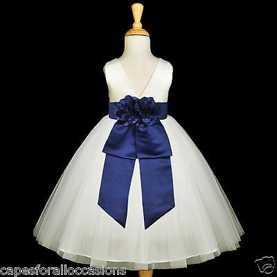 Details About Ivory Tulle Gown Satin Sash Bridesmaid Flower Girl