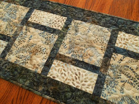 Quilted Batik Table Runner with Leaves and Ferns in by SusiQuilts