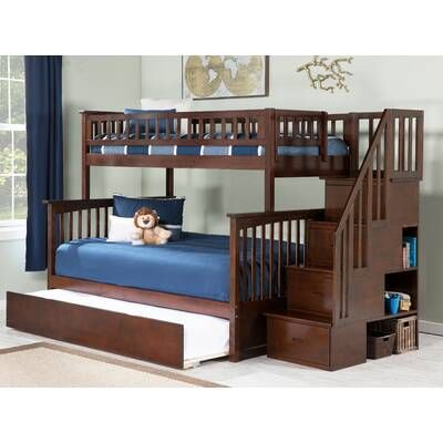 Shyann Staircase Twin Over Full Bunk Bed With Shelves Bunk Bed