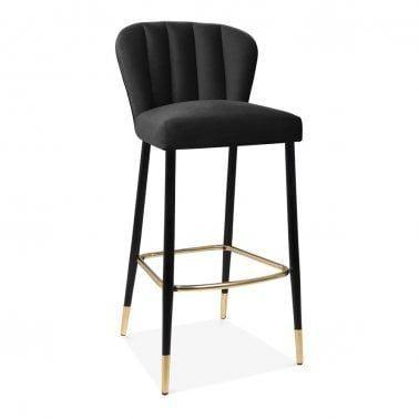 Awe Inspiring Black Tribeca Wooden Bar Stool Velvet Upholstered Modern Uwap Interior Chair Design Uwaporg
