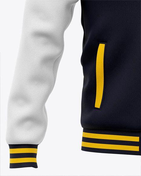 Download Men S Varsity Jacket Mockup Front View Baseball Bomber Jacket In Apparel Mockups On Yellow Images Object Mockups Baseball Bomber Jacket Clothing Mockup Bomber Jacket
