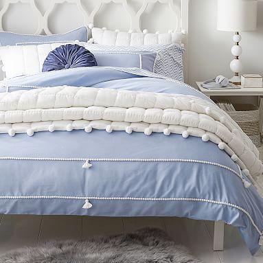 Chambray Tassel Duvet Cover Sham In 2020 Blue And White Bedding Duvet Covers Blue Bedding