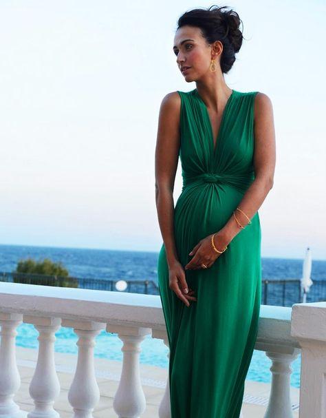 Abiti Da Cerimonia Gravidanza.Jo Maxi Abito Premaman E Elegante Verde Smeraldo Perfetto