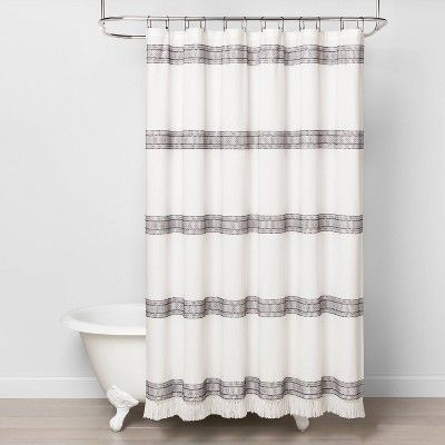 Textured Dobby Stripe Shower Curtain Gray Hearth Hand With