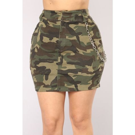 Camo In Command Skirt Camo ($30) ❤ liked on Polyvore featuring skirts, mini skirts, short brown skirt, stretch skirt, camo skirt, chain skirt and stretch mini skirt